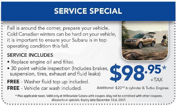 Willowdale Subaru Service Specials