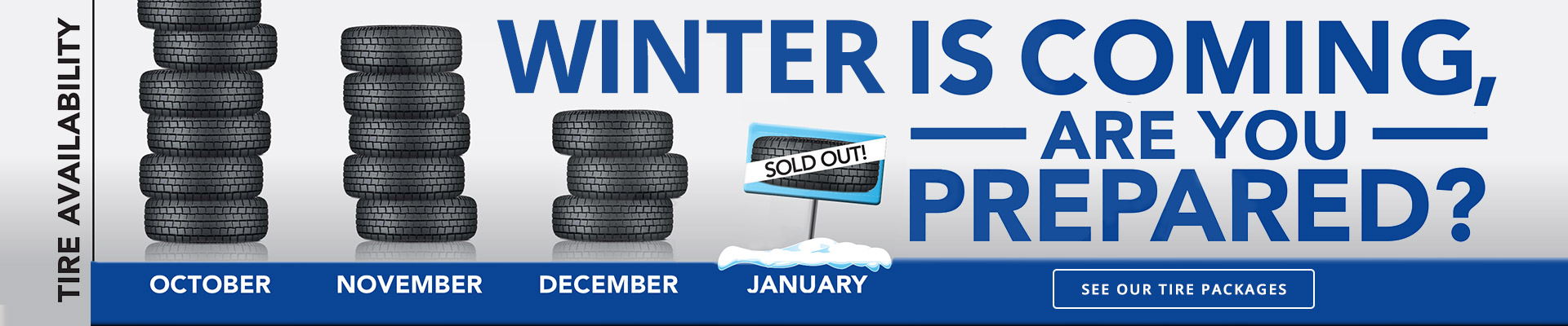Snowy Winter Tire Stacks at Willowdale Subaru's Parts Department