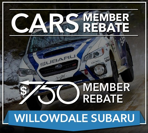 Your CARS Member Rebate For Your Next Willowdale Subaru
