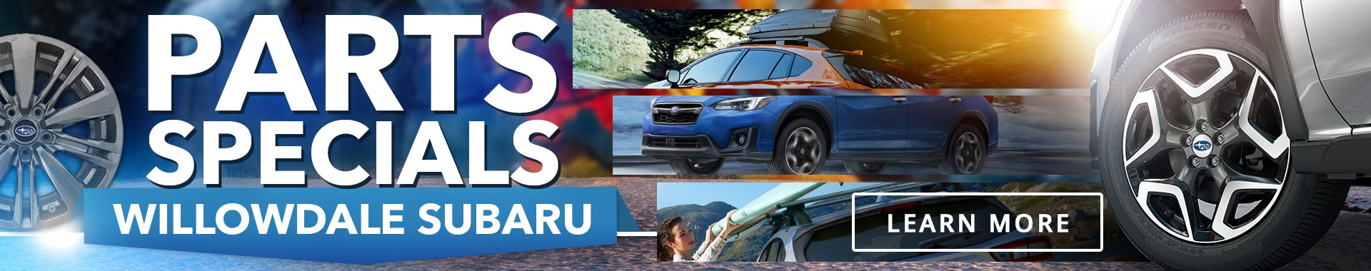 A Collage of Subaru Parts, Tires, Tire Rims, Roof Racks and More at Willowdale Subaru.