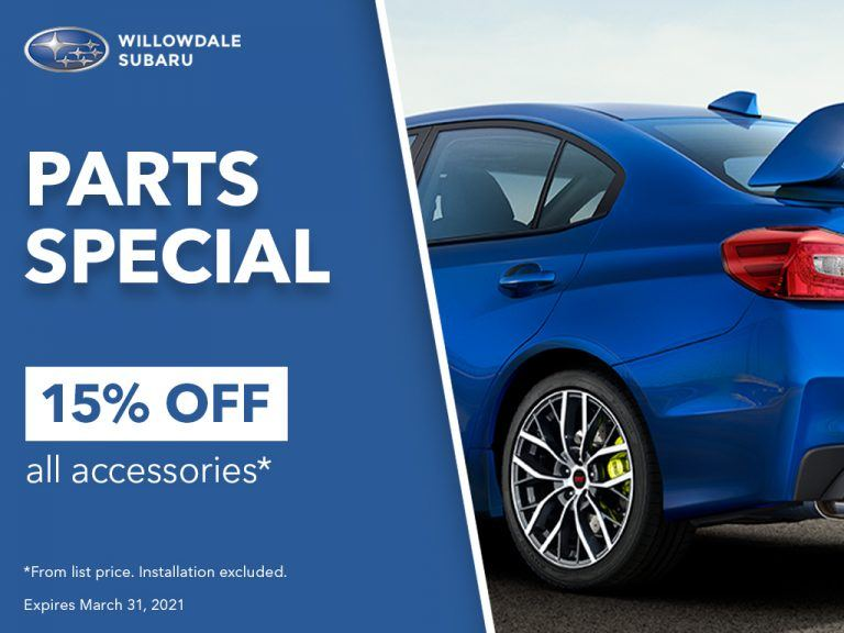 Parts Special 15% off all accessories from list price. Expires on March 31, 2021.